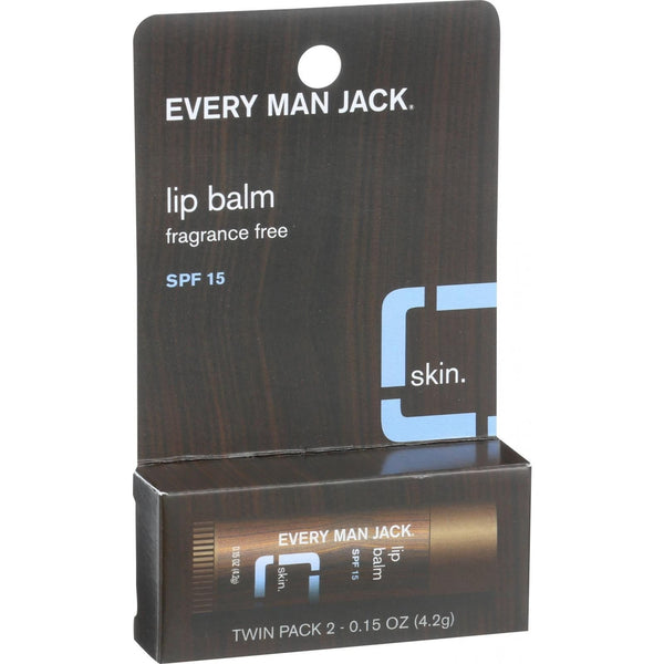 Every Man Jack Lip Balm - Fragrance Free - SPF 15 - Twin Pack - 2 Count - .15 oz - {shop_name}