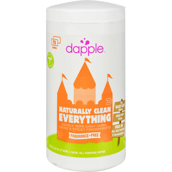 Dapple Surface Wipes for Highchairs, Toys and More Fragrance Free - 75 Wet Wipes -Nursery Cleaning- Allergy Free Me