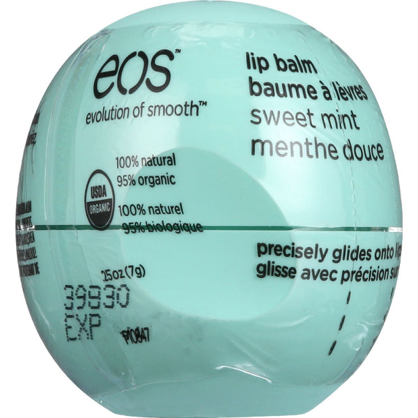 EOS Products Lip Balm - Organic - Smooth Sphere - Sweet Mint - .25 oz - case of 8 -Lip Balm- Allergy Free Me