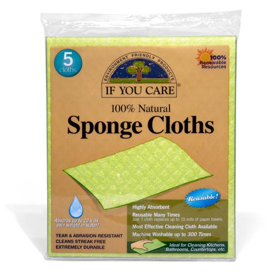 If You Care Sponge Cloths - 100 Percent Natural - 5 Count - Case of 12 -Scrubbers and Sponges- Allergy Free Me