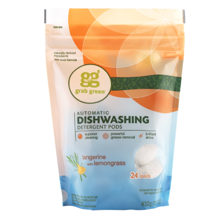 Grab Green Automatic Dishwasher - Tangerine with Lemongrass - Case of 6 - 24 Count - {shop_name}