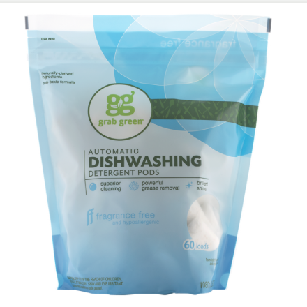 Grab Green Automatic Dishwasher - Fragrance Free - Case of 4 - 60 Count - {shop_name}