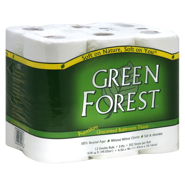 Green Forest Bathroom Tissue - Double Roll 2 Ply - Case of 4 - 12 - {shop_name}