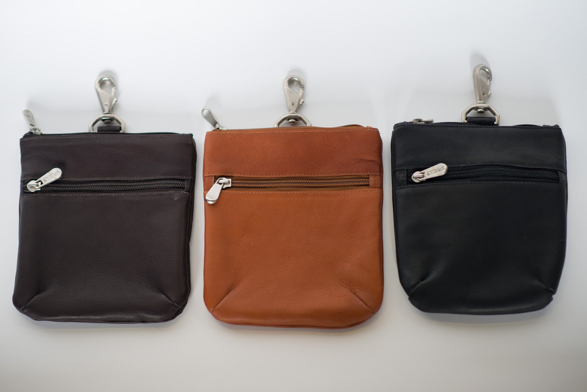 leather zippered golf valuables pouch