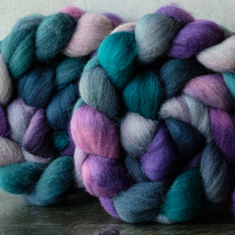 Shetland combed top: turquoise, purple, blue, 4 oz
