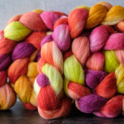 Merino/silk spinning fiber: Heirloom Carrots, 4 oz