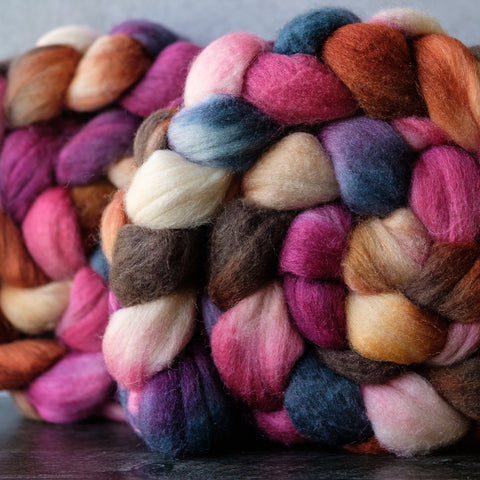 Merino/silk spinning fiber: pink, orange, grey, 4 oz