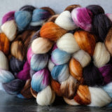 Merino/cashmere/nylon combed top: orange, purple, cream, blue, 4 oz