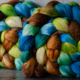 Polwarth/Silk Ultra spinning fiber: Cathedral Mountains, 4 oz