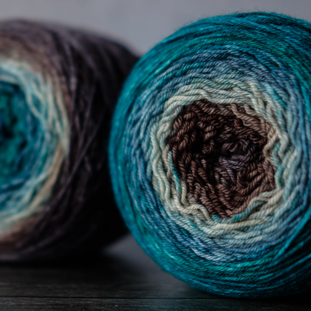 Gradient sock-weight yarn: North Cascades variation