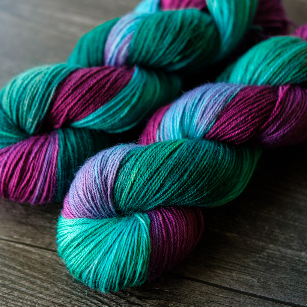 Willow Sock: sea green, blue, fuchsia