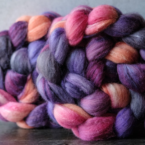 Polwarth/silk spinning fiber: pink, orange, purple, grey, 4 oz