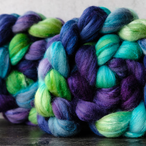 Polwarth/silk spinning fiber: blue, purple, green, 4 oz
