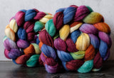 Targhee/silk spinning fiber: Two-Flower Mochi variation, 4 oz