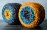 Gradient sock-weight yarn: Basin and Range