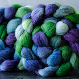 Targhee/silk spinning fiber: green, blue, purple, 4 oz
