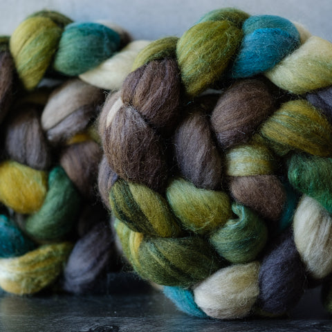 Polwarth/silk spinning fiber: North Cascades, 4 oz