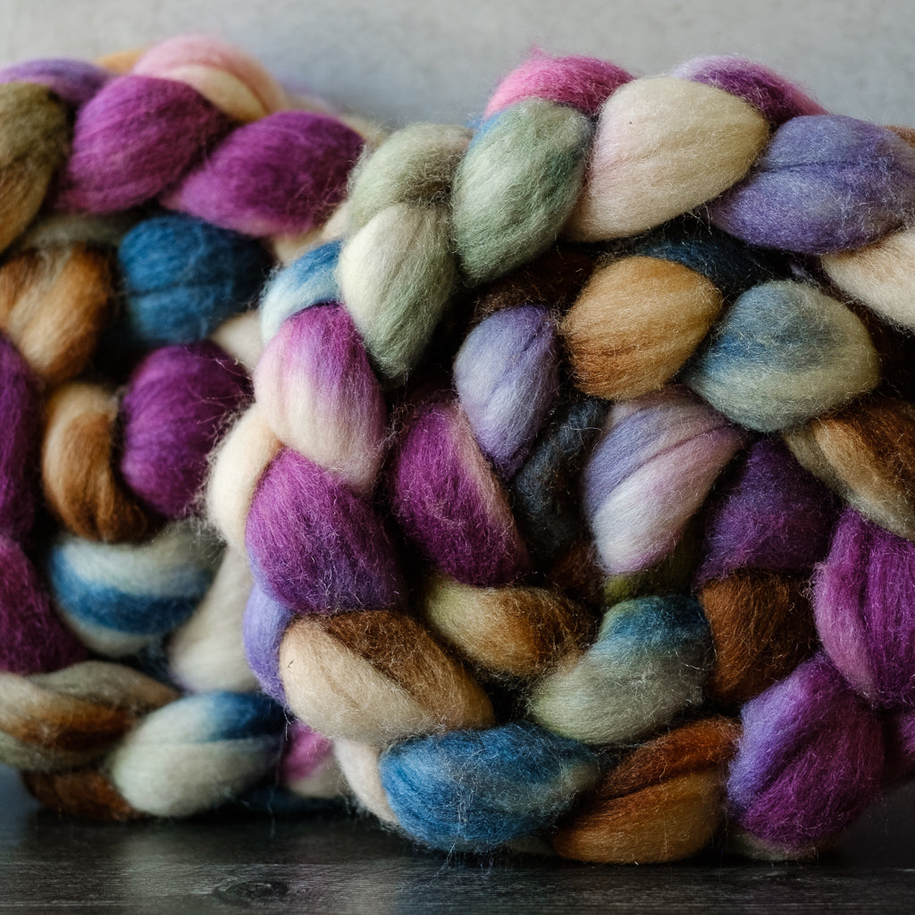 Merino/silk spinning fiber: pink, purple, cream, 4 oz