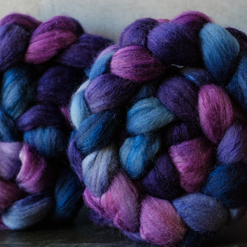 Polwarth/silk spinning fiber: purple, blue, 4 oz