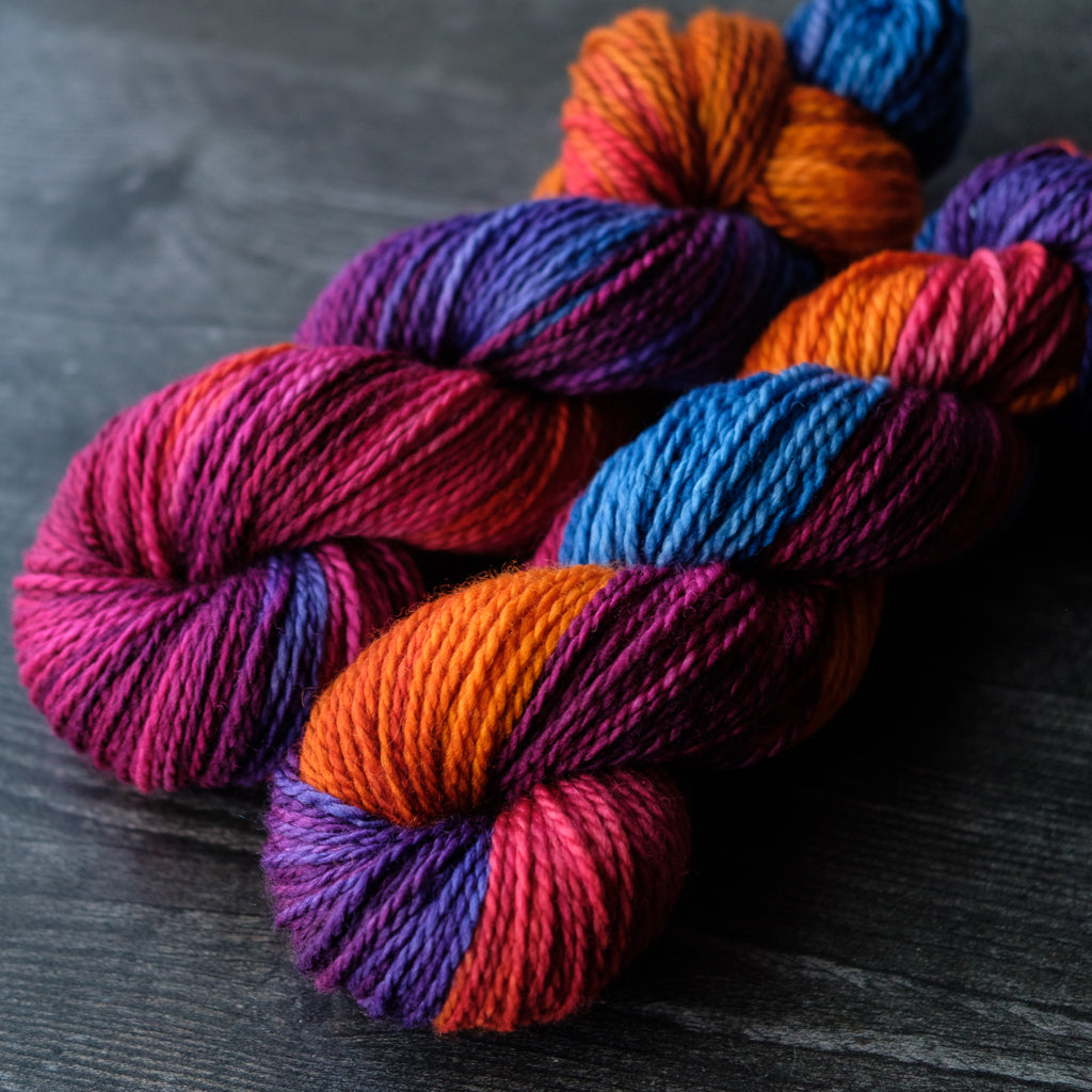 2-Ply Aran: purple, pink, orange