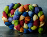 Merino/silk spinning fiber: rainbow, 4 oz