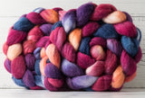 Merino/silk spinning fiber: raspberry, blue, purple, peach, 4 oz