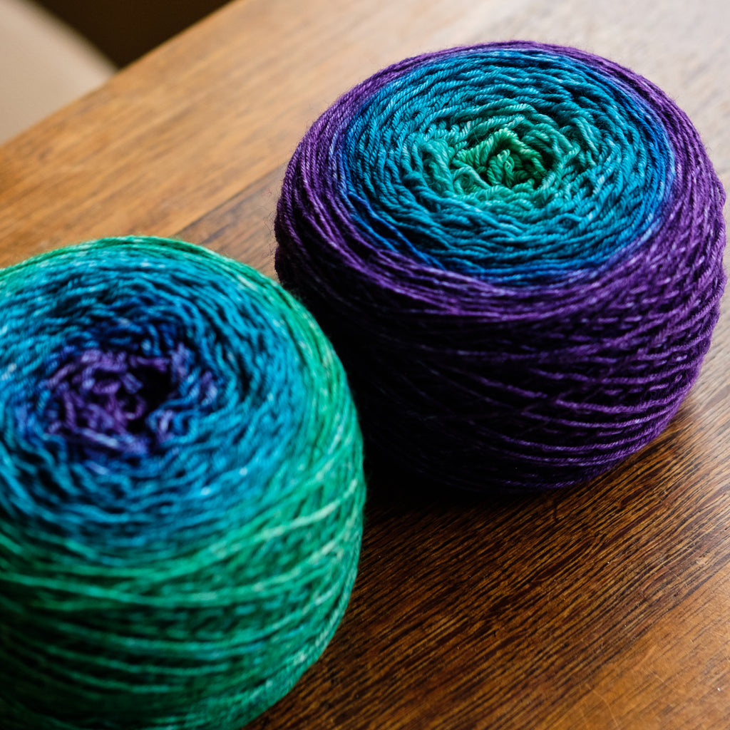 Gradient sock-weight yarn: Secret Garden variation