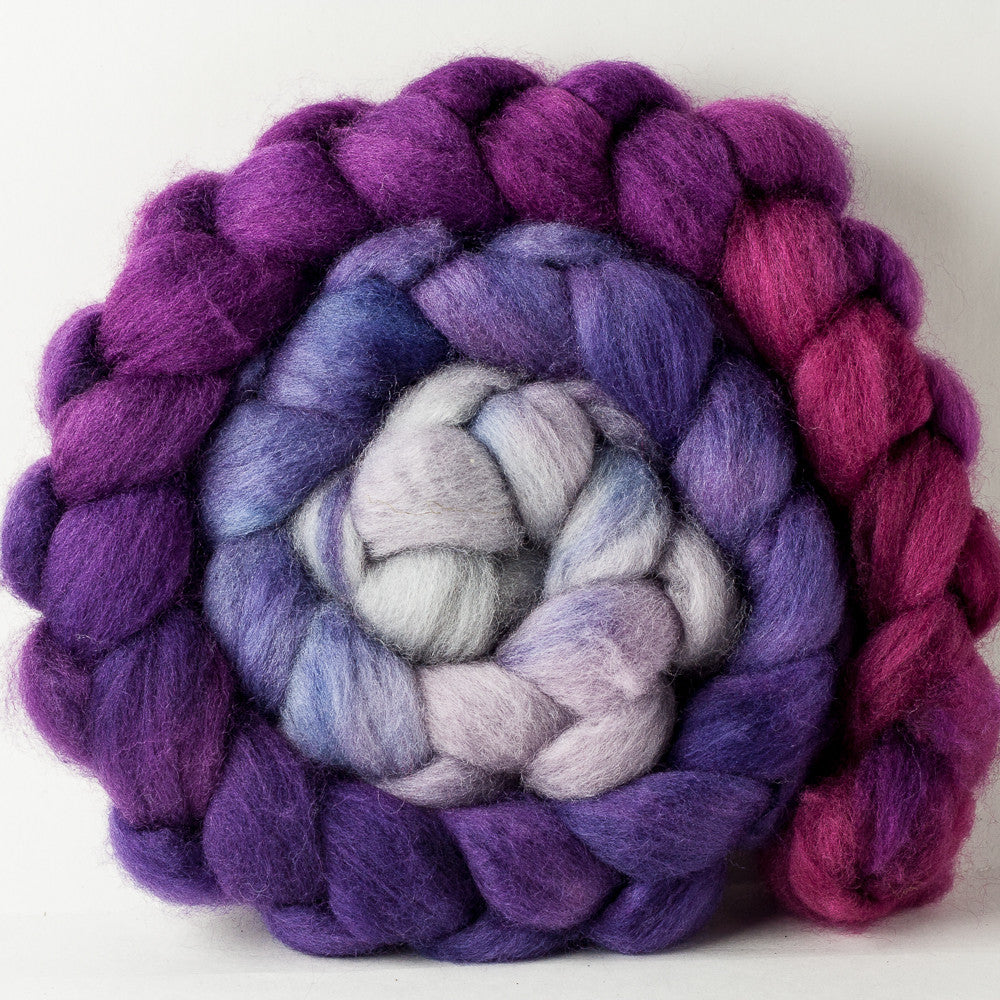 Blue-Faced Leicester combed top: silver, raspberry, purple gradient, 6 oz