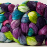 Merino/cashmere/nylon combed top: pink, purple, green, turquoise, 4 oz