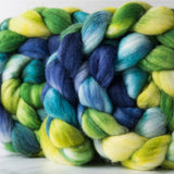 Merino/silk spinning fiber: yellow, green, turquoise, blue