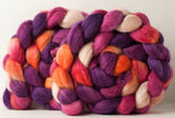 Polwarth/Silk Ultra spinning fiber: raspberry, orchid, tangerine, cream, 4 oz