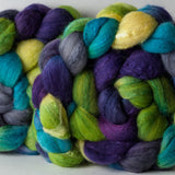 Targhee/silk spinning fiber: Catch and Release colorway, 4 oz