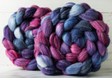 Targhee/bamboo/silk combed top: fuchsia, purple, blue