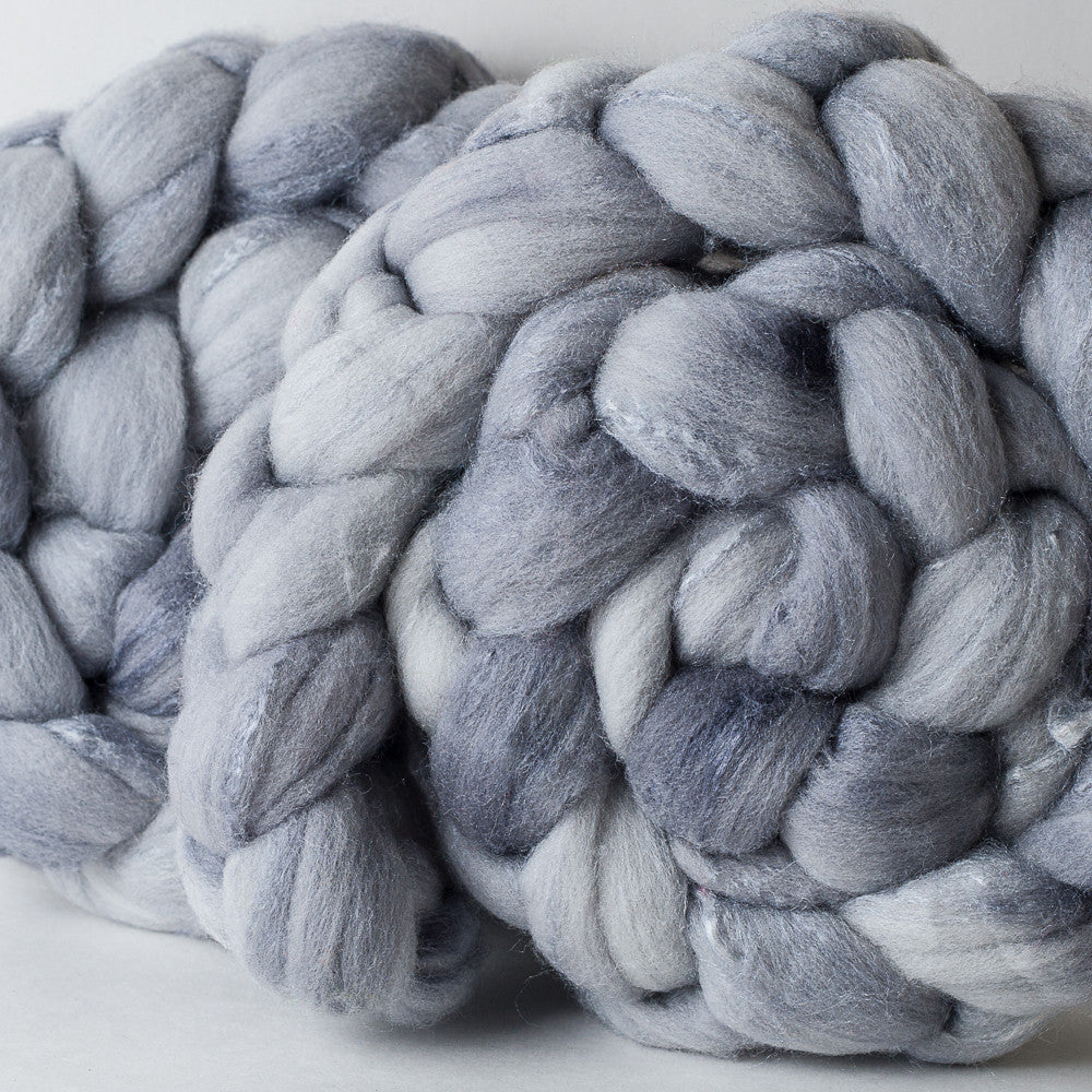 Targhee/silk spinning fiber: Mithril, 4 oz