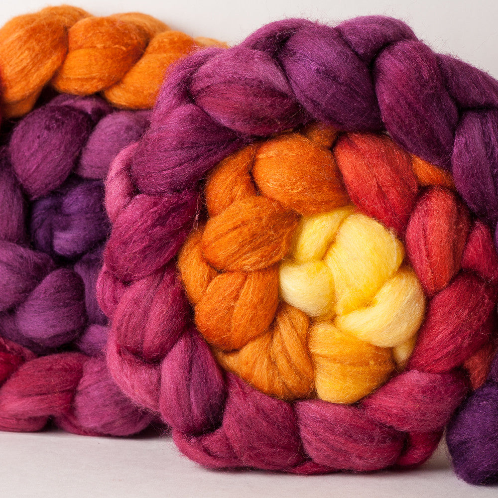 Targhee/silk spinning fiber: sunrise gradient, 4 oz