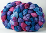RESERVED for RH: Targhee/silk spinning fiber: raspberry, purple, blue
