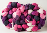 Targhee/silk spinning fiber: pink, purple, charcoal, white, 4 oz