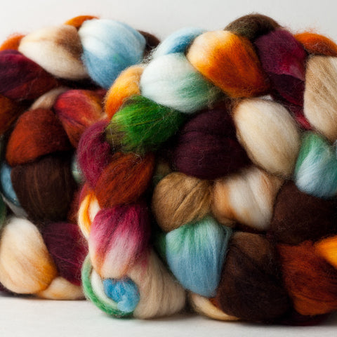 Merino/cashmere/nylon combed top: burgundy, orange, cream, blue, 4 oz