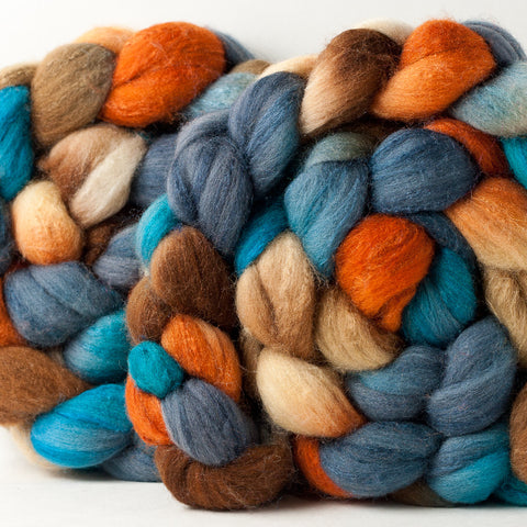 Targhee/silk spinning fiber: orange, turquoise, slate, brown, 4 oz