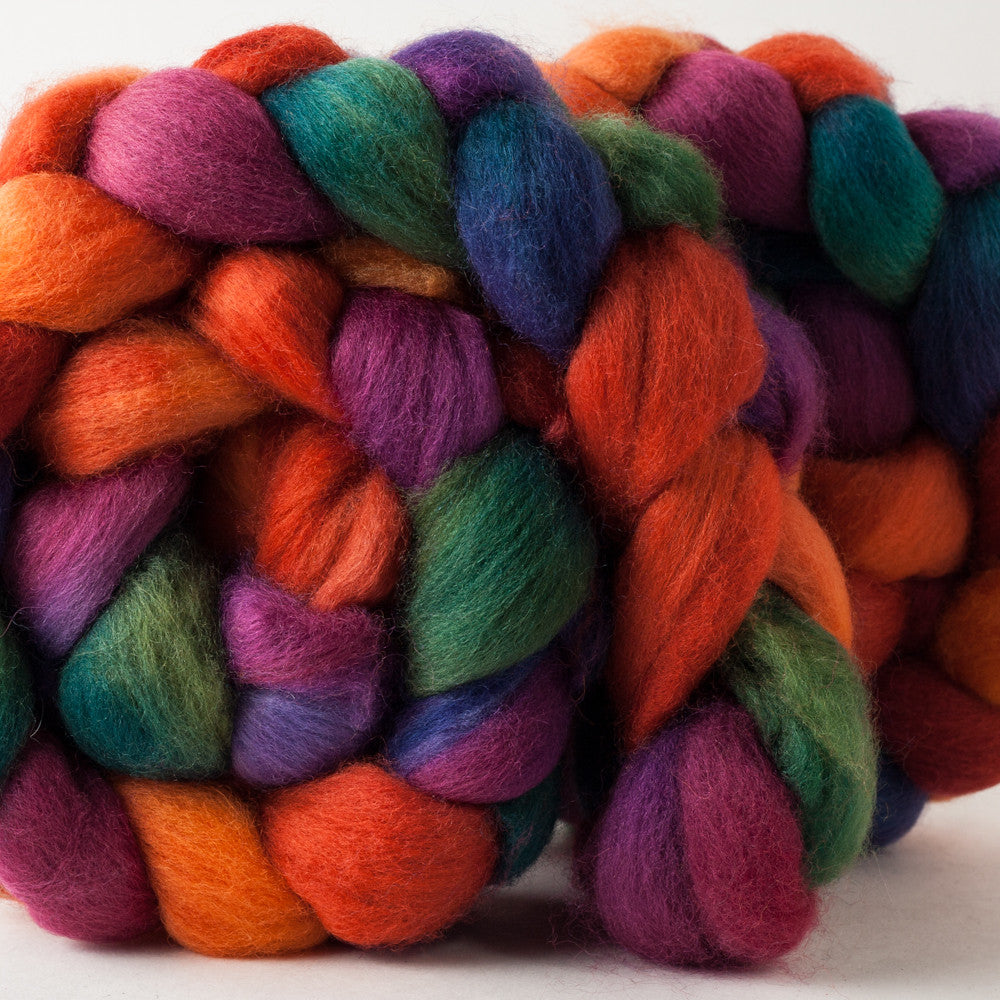 Huckleberry Knits hand-dyed Blue-Faced Leicester roving