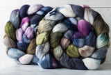 Polwarth/Silk Ultra spinning fiber: blue, olive, purple