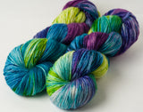 Willow Sock: speckled green, violet, turquoise