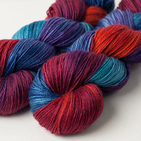 Willow Sock: blue, purple, red, orange, turquoise