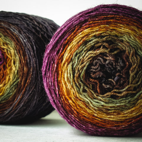 Gradient fingering-weight yarn: Orpheus