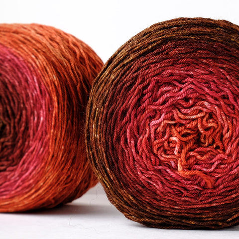 Gradient fingering-weight yarn: Embers