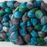 Merino Bamboo Silk spinning fiber: Flying Fish variation, 4 oz