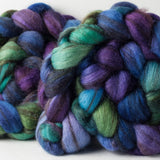 Mixed Blue-Faced Leicester combed top: purple, blue, seafoam