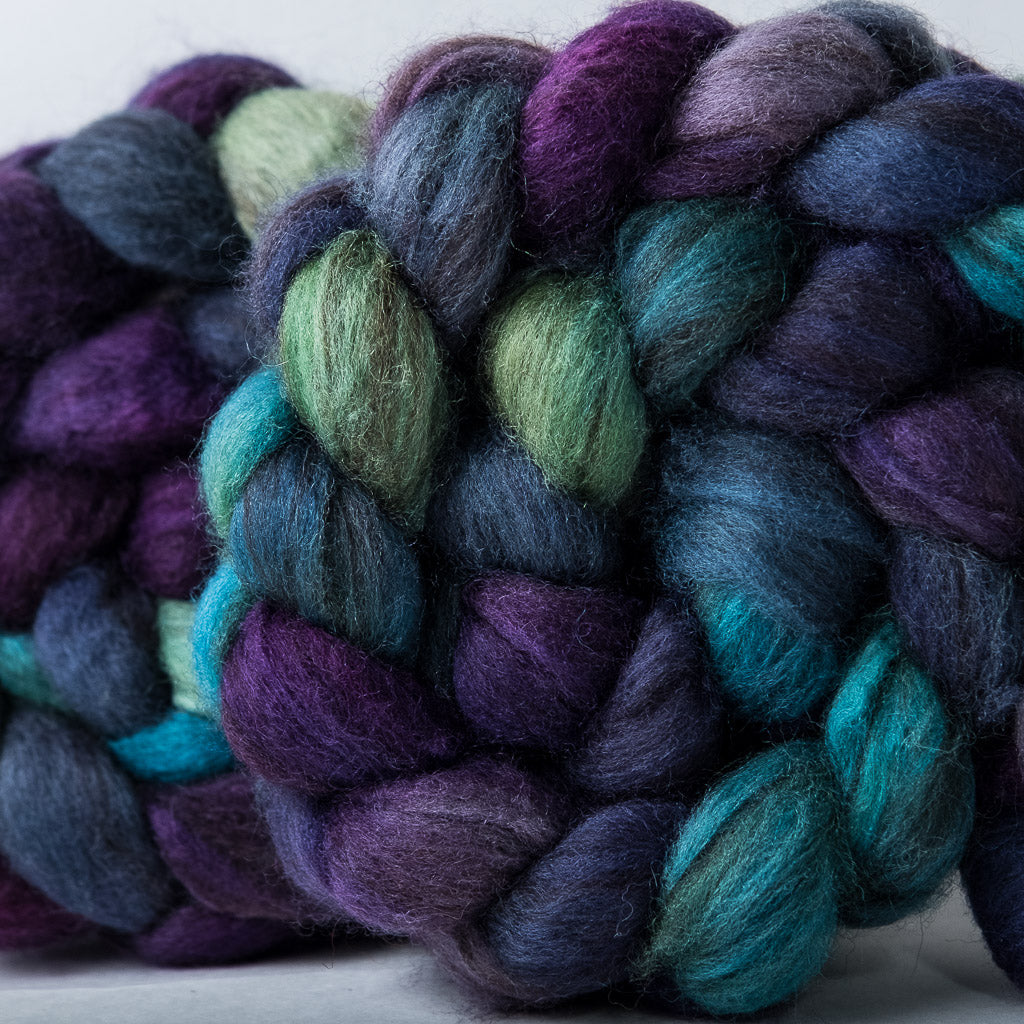 Mixed Blue-Faced Leicester combed top: purple, blue, turquoise