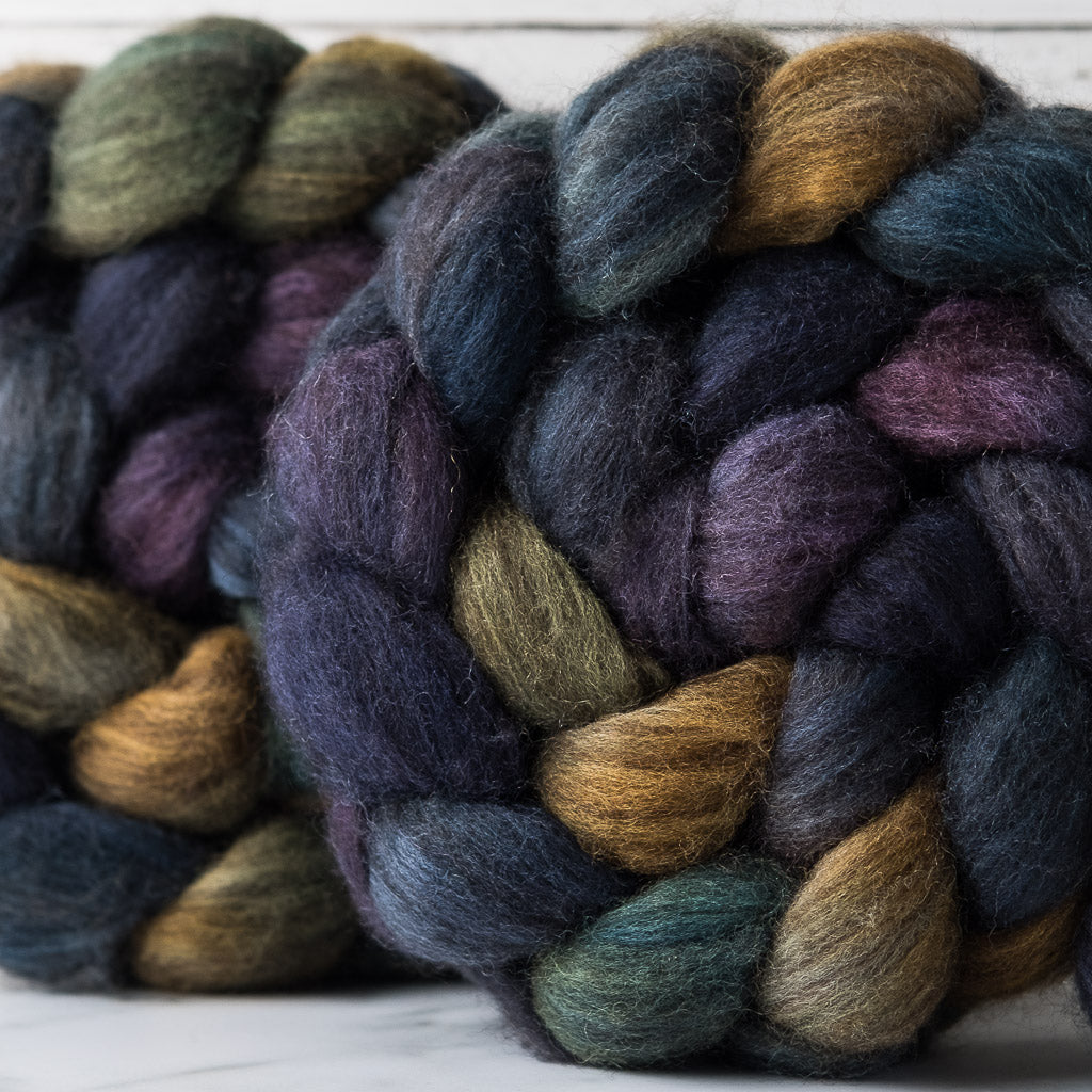 Yak/Merino combed top: navy, spruce, gold, purple