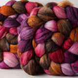 Merino/superwash merino/silk spinning fiber: cherry, purple, orange, brown, grey